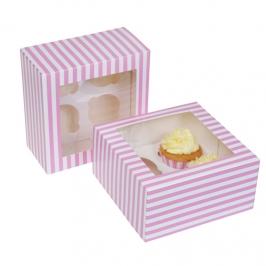 Caja para 4 cupcakes rosa y blanca 2 Unidades
