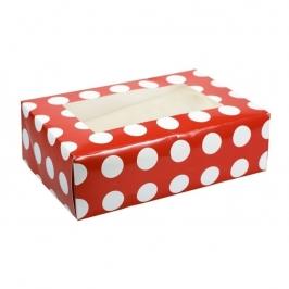 Caja para 6 cupcakes Polka Dot Red