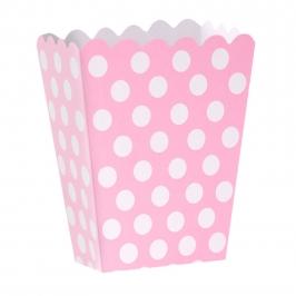 Set de 12 Cajas para Palomitas Rosas con Lunares Blancos