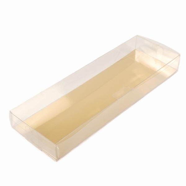 Caja para Turrón Transparente con base Dorada 20 cm