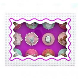 Caja para 12 cupcakes Luxury lila con detalles en blanco