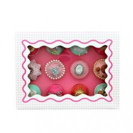 Caja para 12 cupcakes Luxury rosa con detalles en blanco