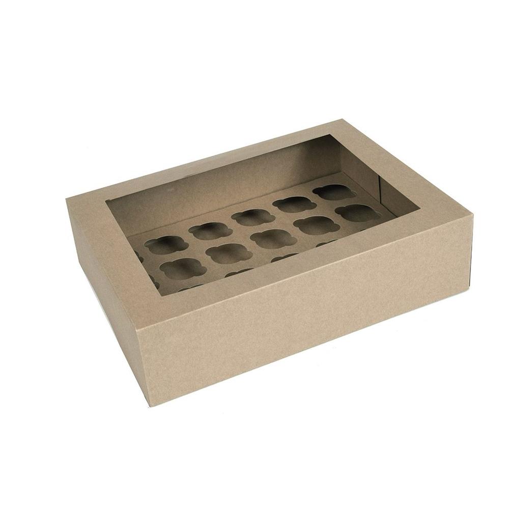 Caja para 24 mini Cupcakes Kraft 2 ud