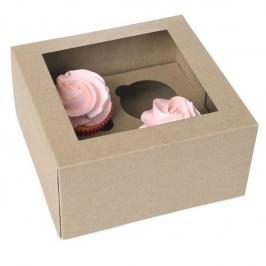 Set de 2 Cajas para 4 Cupcakes Kraft