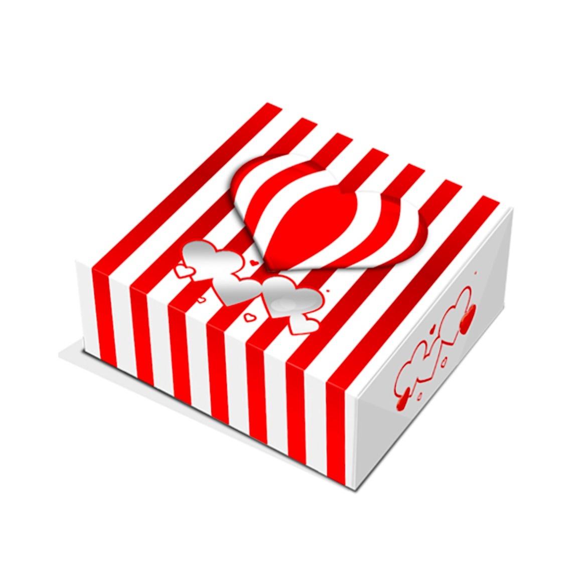 Caja para Galletas Corazones y Rayas 14 cm
