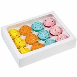 Cajas para 12 mini cupcakes blancas 3 unidades