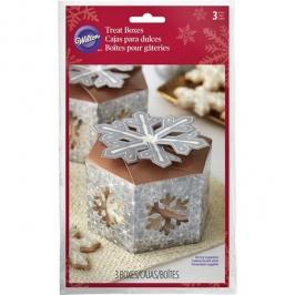 Cajas para dulces con ventana copos de nieve 3 unidades