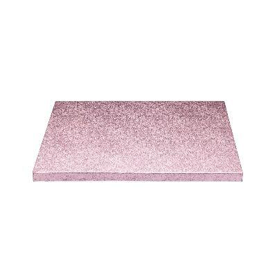 Cake drum cuadrado rosa metalizado 20cm