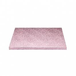 Cake drum cuadrado rosa metalizado 30cm