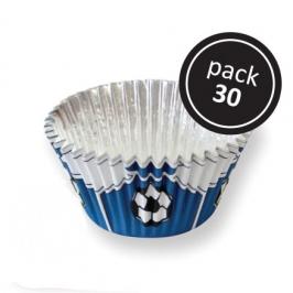Cápsulas para cupcakes fútbol azules