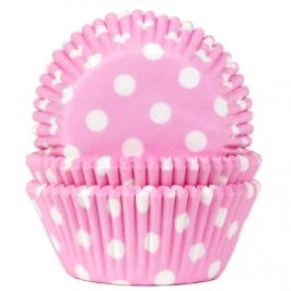 Cápsulas para cupcakes rosa bebé con lunares