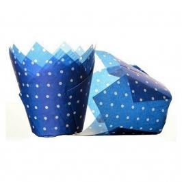 Cápsulas para muffins azul con lunares blancos 50 unidades