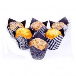 Cápsulas para muffins negro y plata 36 unidades
