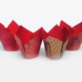 Cápsulas para muffins rojo y dorado 50 unidades
