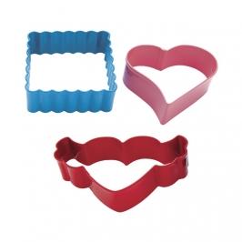 Set de 3 cortadores metálicos San Valentín