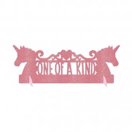 Centro de mesa de unicornio rosa con purpurina
