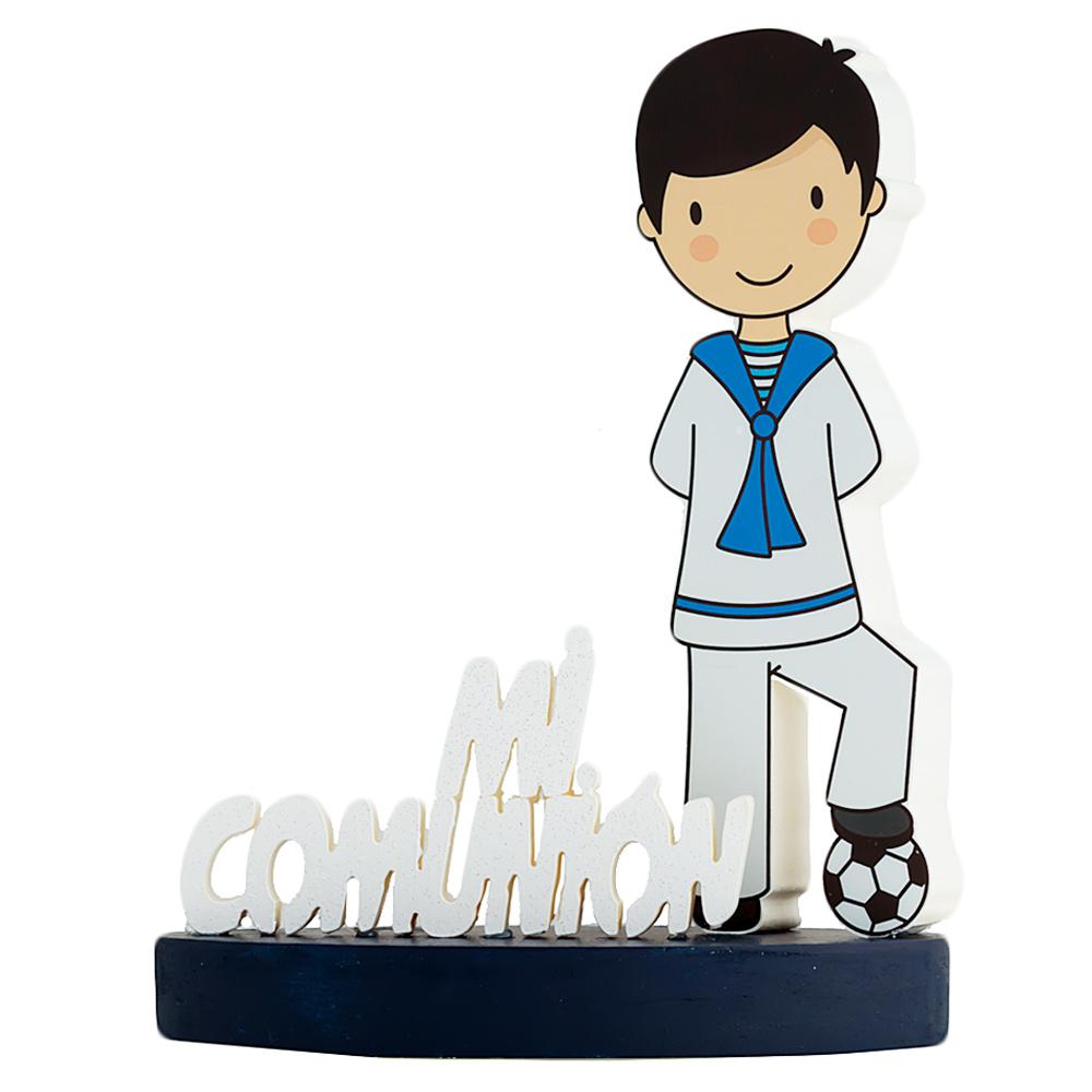 Centro de mesa Mi Primera Comunión fútbol niño moreno