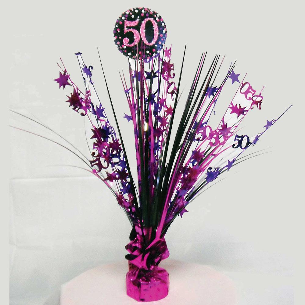 Centro de mesa para 50 cumpleaños Pink Sparkling de 46 cm