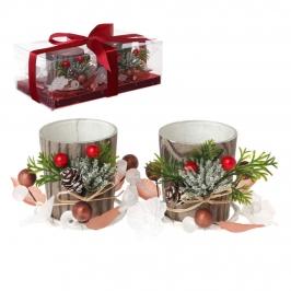 Set 2 Decoraciones Navideñas Portavelas