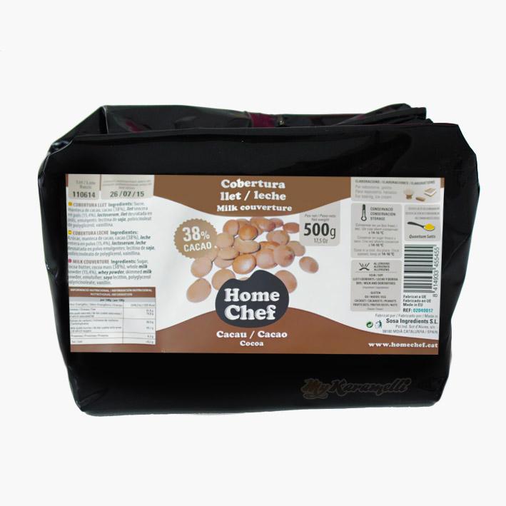Cobertura Chocolate con leche premium 38% Cacao Home Chef 250gr
