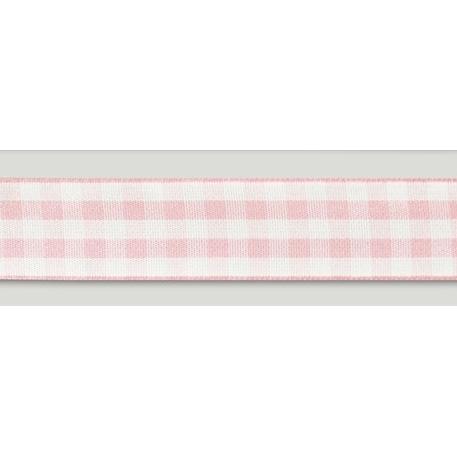 Cinta Satinada Gingham Pink (2 mts)