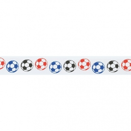 Cinta satinada Balones de Fútbol de colores 24mm (2 mts)