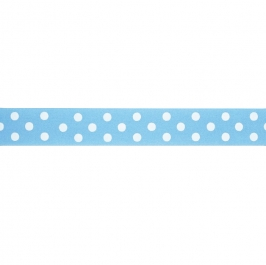 Cinta satinada Polka dot Blue 24mm (2mts)