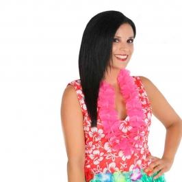 Collar hawaiano de flores fucsias