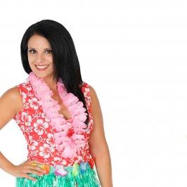 Collar hawaiano de flores rosa claro