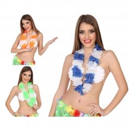 Collar hawaiano de flores verdes y blancas