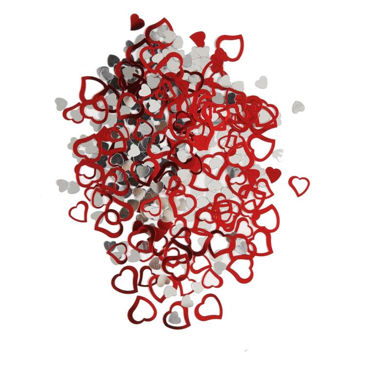 Confeti Metalizado Corazones Rojo y Plata