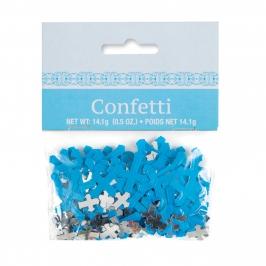 Confetti Cruces Azules y Plateadas