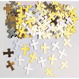 Confetti Cruces Doradas y Plateadas