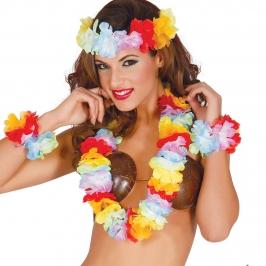 Conjunto hawaiano multicolor 4 piezas