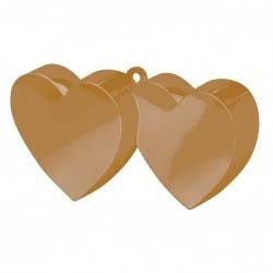 Contrapeso para globos doble corazón dorado