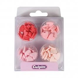 Corazones de azúcar multicolor