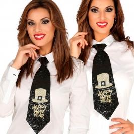 Corbata Fin de Año Purpurina Negra