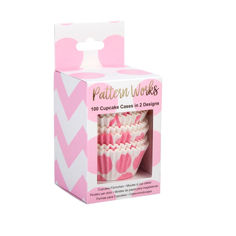 Cápsulas para Cupcakes Chevron y Lunares Rosas