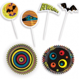 Set Decoración de cupcakes Halloween 3D (48 pcs)