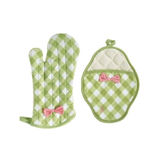 Set guantes de horno Green Gingham