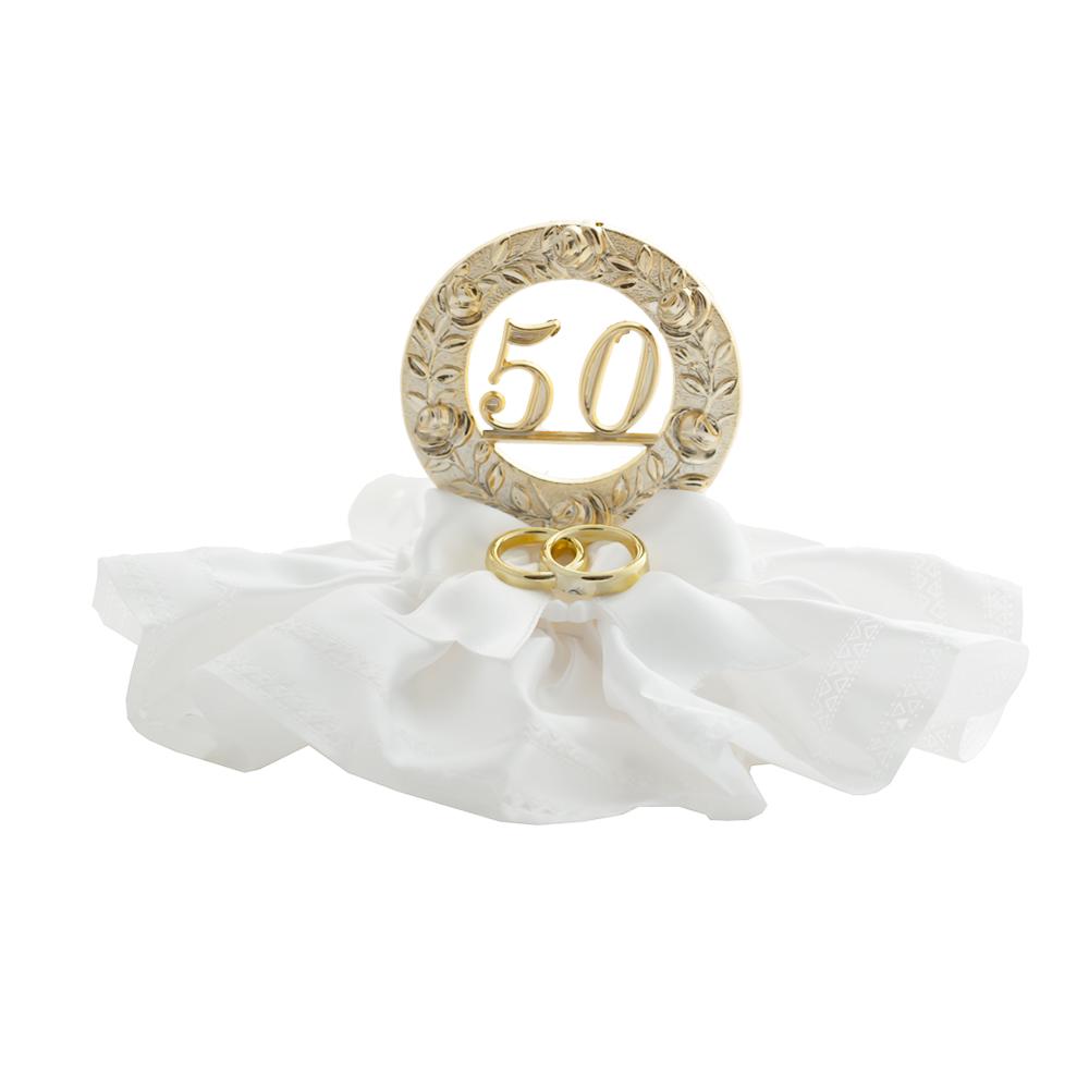 Decoración 50 aniversario con alianzas 10cm
