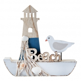 Decoración Barco y Faro 15 cm