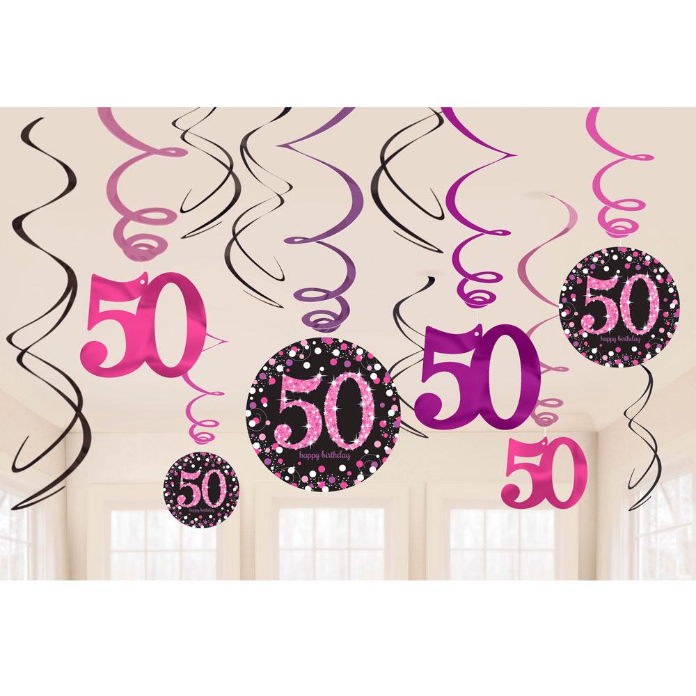 Decoración Colgante Espiral 50 años Rosa Brillante