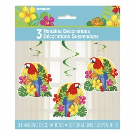 Set 3 Decoraciones Colgantes Loro Tropical