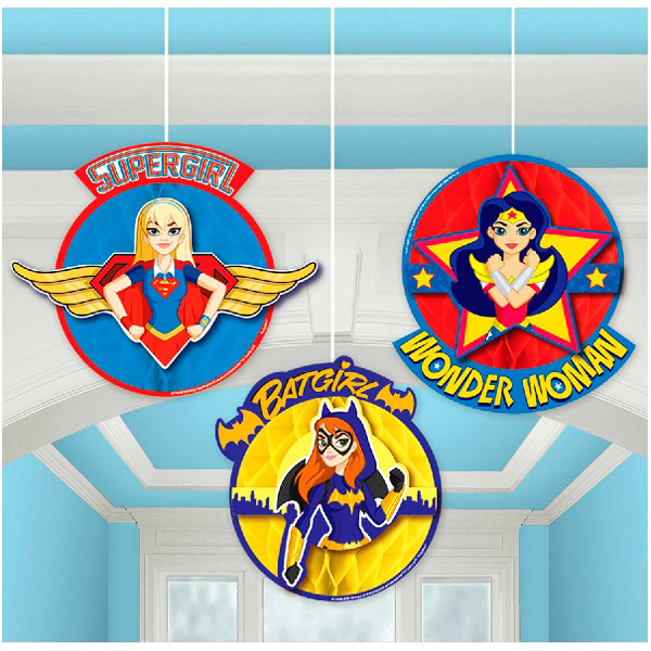 Decoración Colgante Nido de Abeja Super Hero Girls