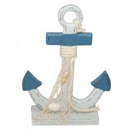Decoración de ancla azul de 21 cm con detalles marineros para mesas dulces