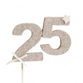 Decoración para tarta 25 años en color plata