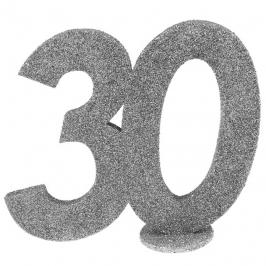 Decoración para Tarta 30 años plata 10 cm