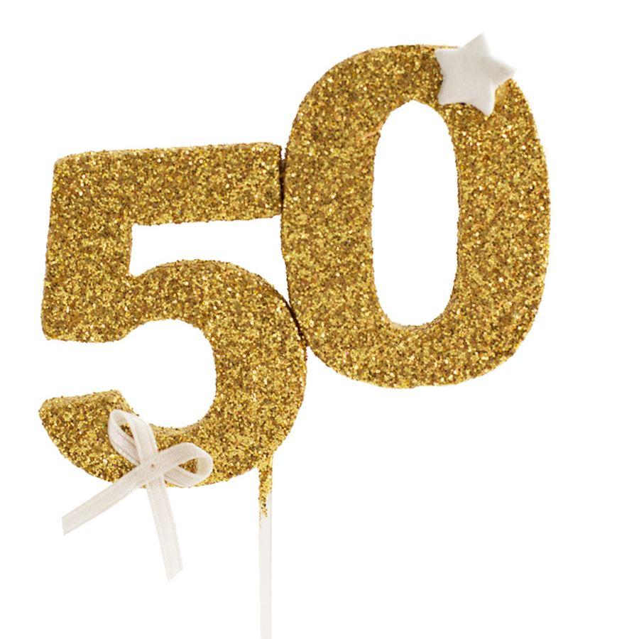 Decoraci n para tarta 50 a os en color dorado my karamelli - Decoracion con globos 50 anos ...