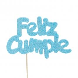 Decoración para tarta Feliz Cumple azul claro
